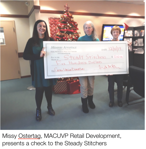 MACU presents check to Steady Stitchers